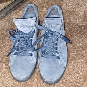 Powder blue suede Prada sneakers